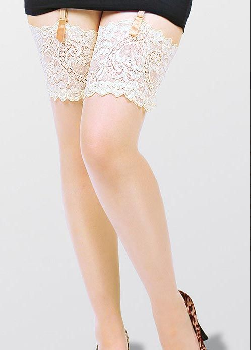 c81f4736248 Plus Size Stockings with Deep Lace Tops in Black or Ivory up to UK 32